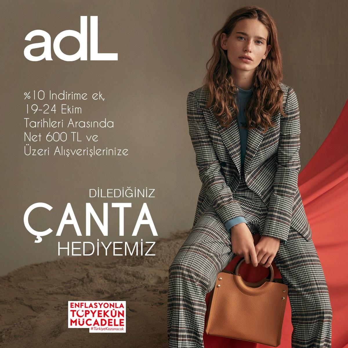 adL'de tüm ürünlerde %10 indirime ek, 24 Ekim'e kadar net 600TL alışverişinize çanta hediye! Kampanya koşulları ile ilgili detaylı bilgi için #AntalyaMigros AVM adL mağazasını ziyaret edebilirsiniz.