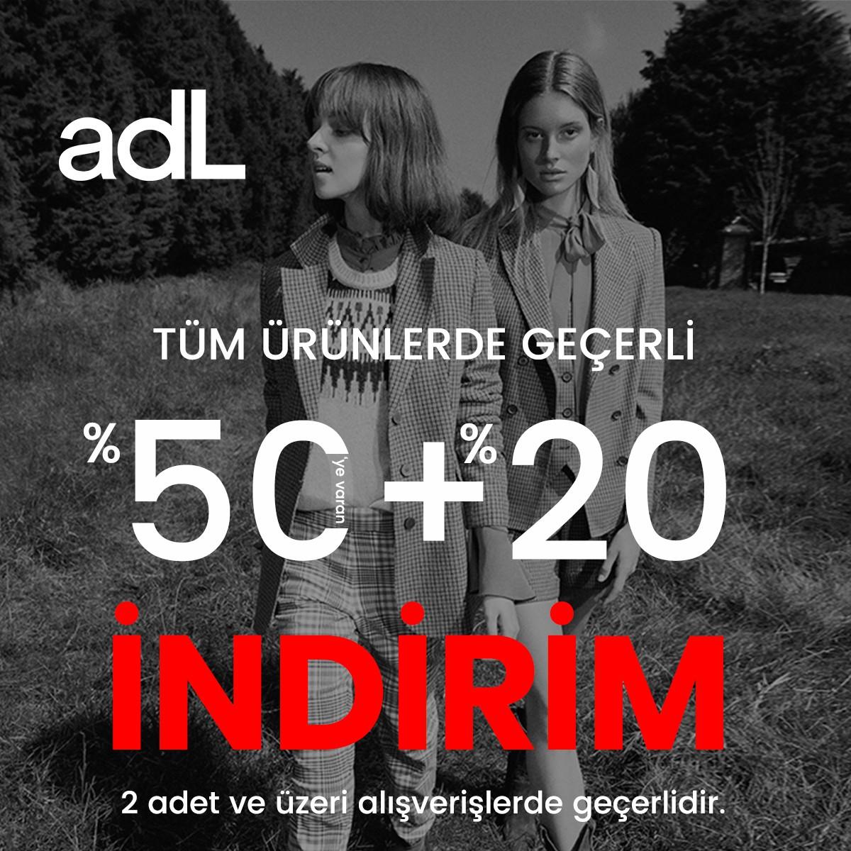 adL'de tüm ürünlerde %50'ye varan indirim + %20 indirim fırsatı!