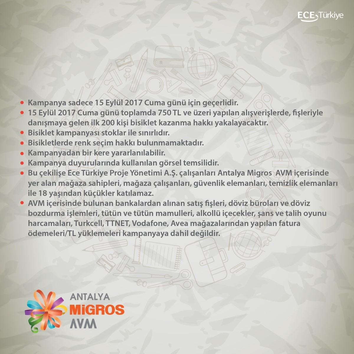 Antalya Migros AVM bisiklet kampanyası katılım koşulları