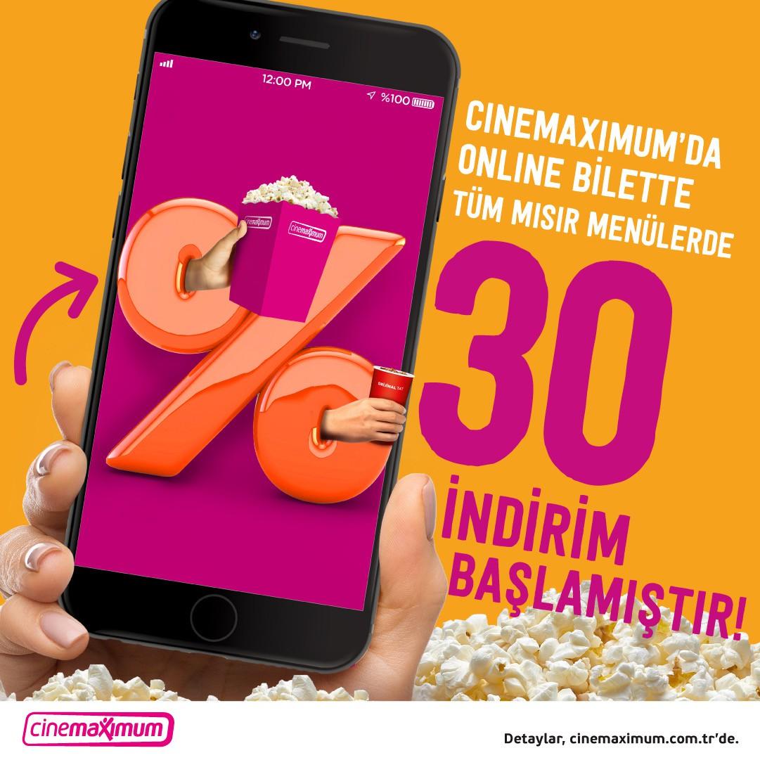 Cinemaximum online bilette tüm mısır menülerde %30 indirim başlamıştır.
