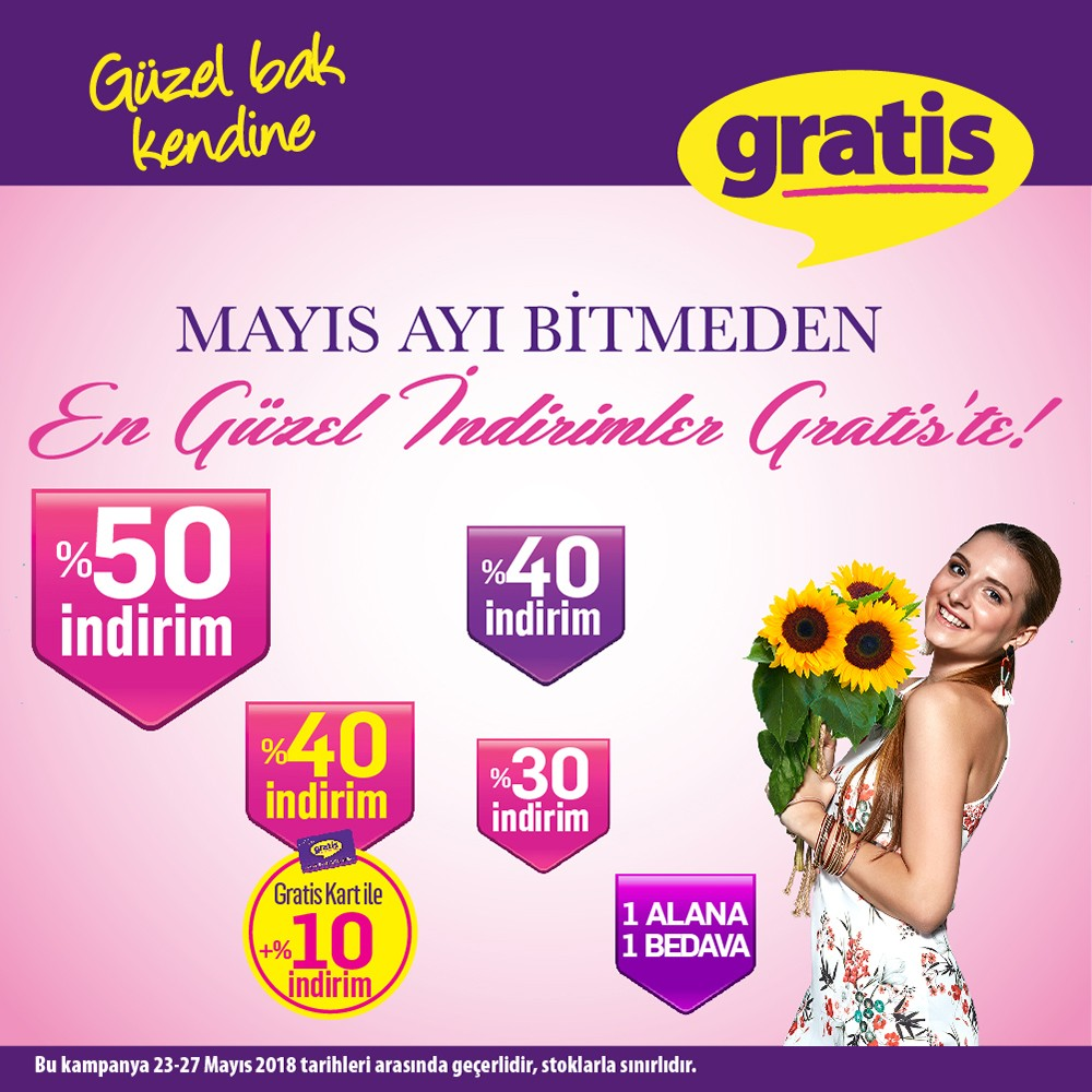 Mayıs ayı bitmeden en güzel indirimler Gratis'te! %50'ye varan indirim fırsatları 23-27 Mayıs tarihleri arasında #AntalyaMigros AVM mağazasında sizleri bekliyor!