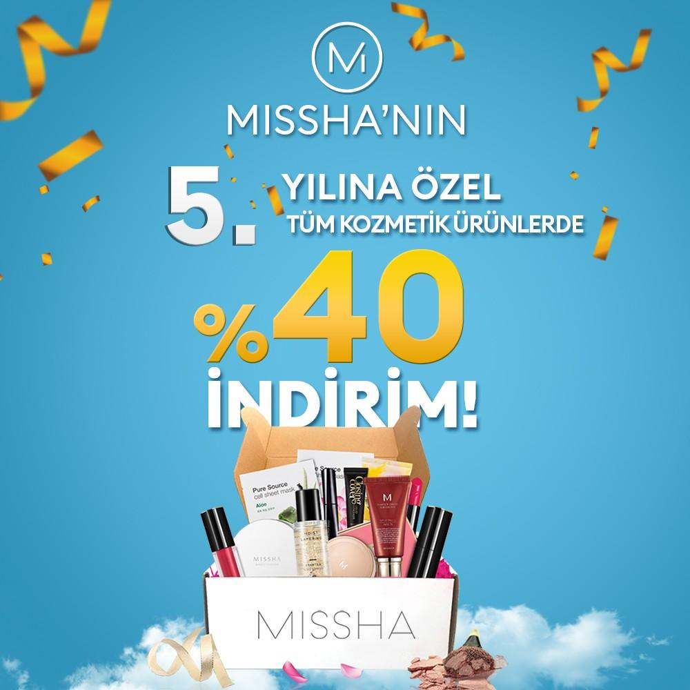 Missha, 5. Yılını kutluyor olmanın mutluluğunu sizlerle paylaşmak istiyor. Tüm ürünlerde geçerli net %40 indirim için #AntalyaMigros AVM mağazasını ziyaret etmeniz yeterli! Sınırlı süre ile geçerlidir. Son gün 29 Ekim. Hadi alışveriş keyfi başlasın!