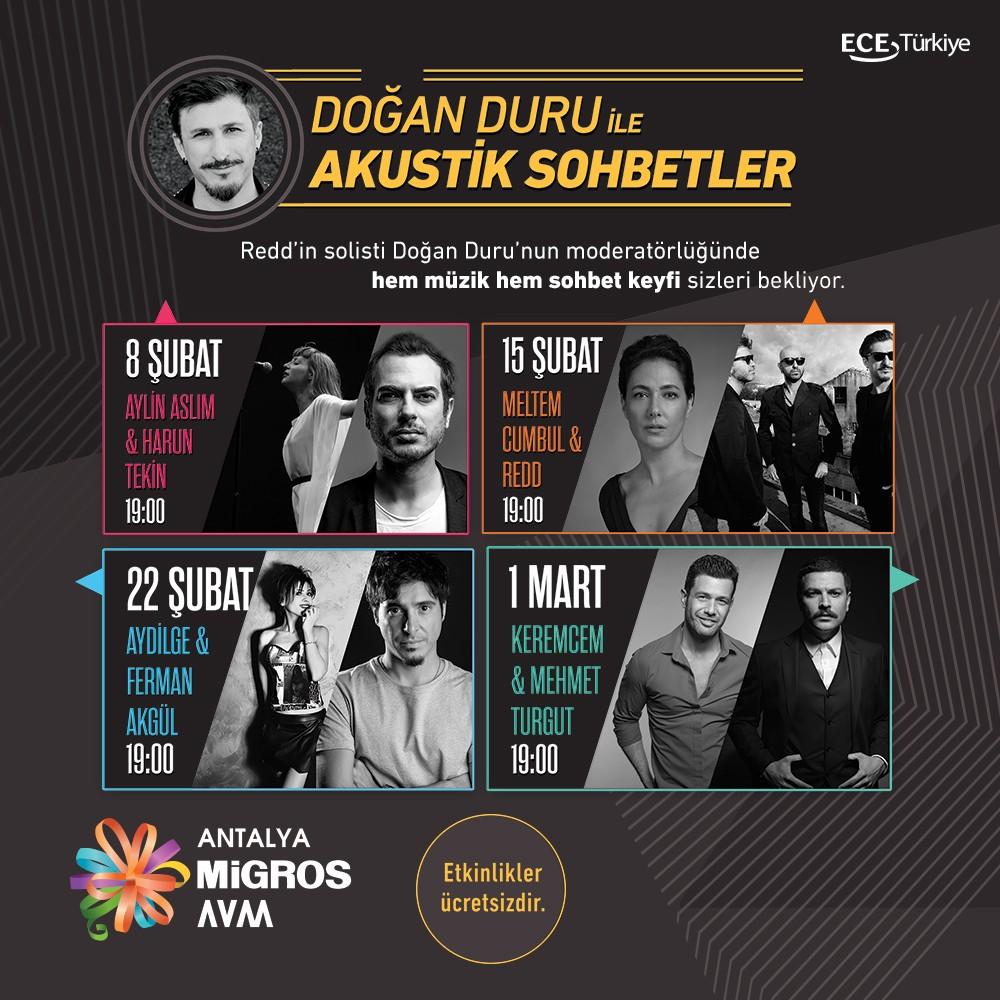 #AntalyaMigros AVM'de Doğan Duru ile Akustik Sohbetler Şubat Ayında Başlıyor, Kimselere Söz Vermeyin!