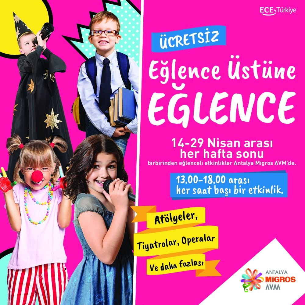 #AntalyaMigros AVM'de eğlence üstüne eğlence! Nisan ayını çocuklara ayırdık. 14-29 Nisan arası her hafta sonu rengarenk! Tüm etkinlikler ücretsizdir!