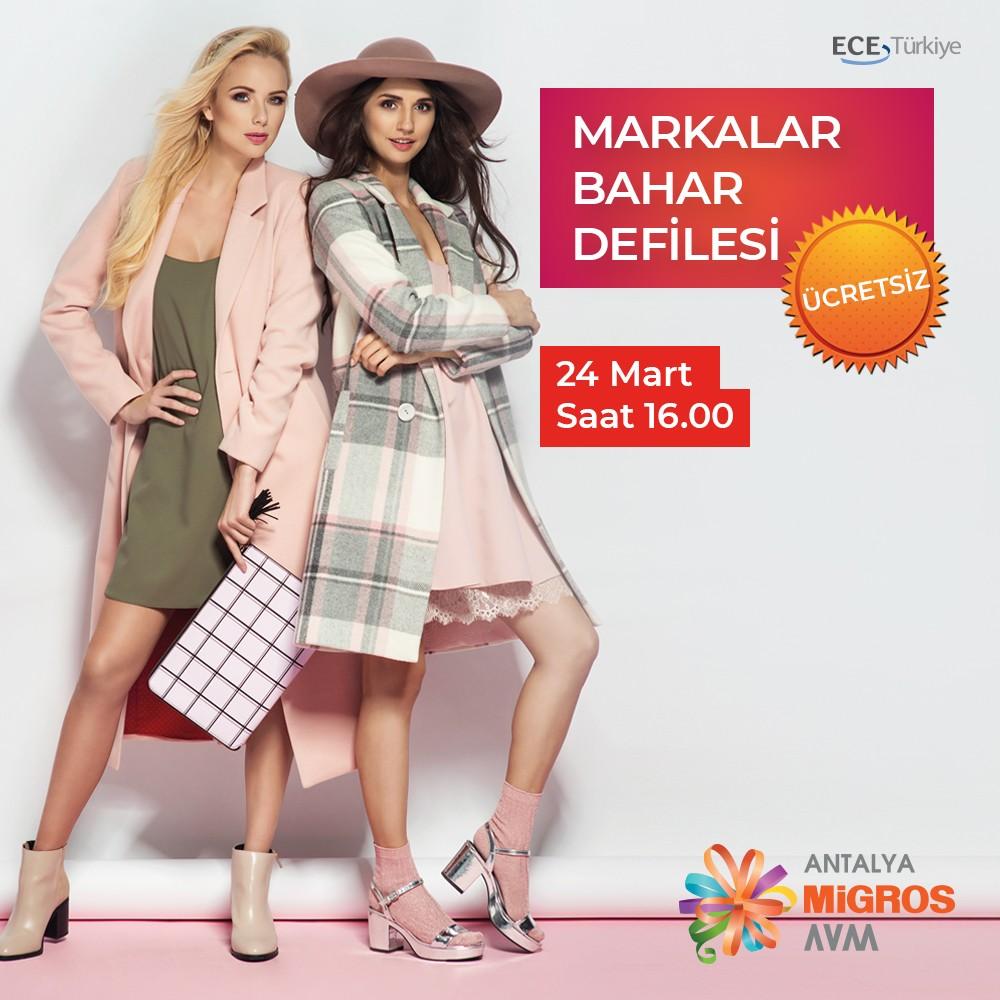 Bahar modasını önce sen yakala! Markalar Bahar Defilesi 24 Mart Cumartesi, saat 16.00'da #AntalyaMigros AVM'de! Etkinlik ücretsizdir. Bahar trendini yakalamak isteyen tüm ziyaretçilerimizi bekliyoruz.