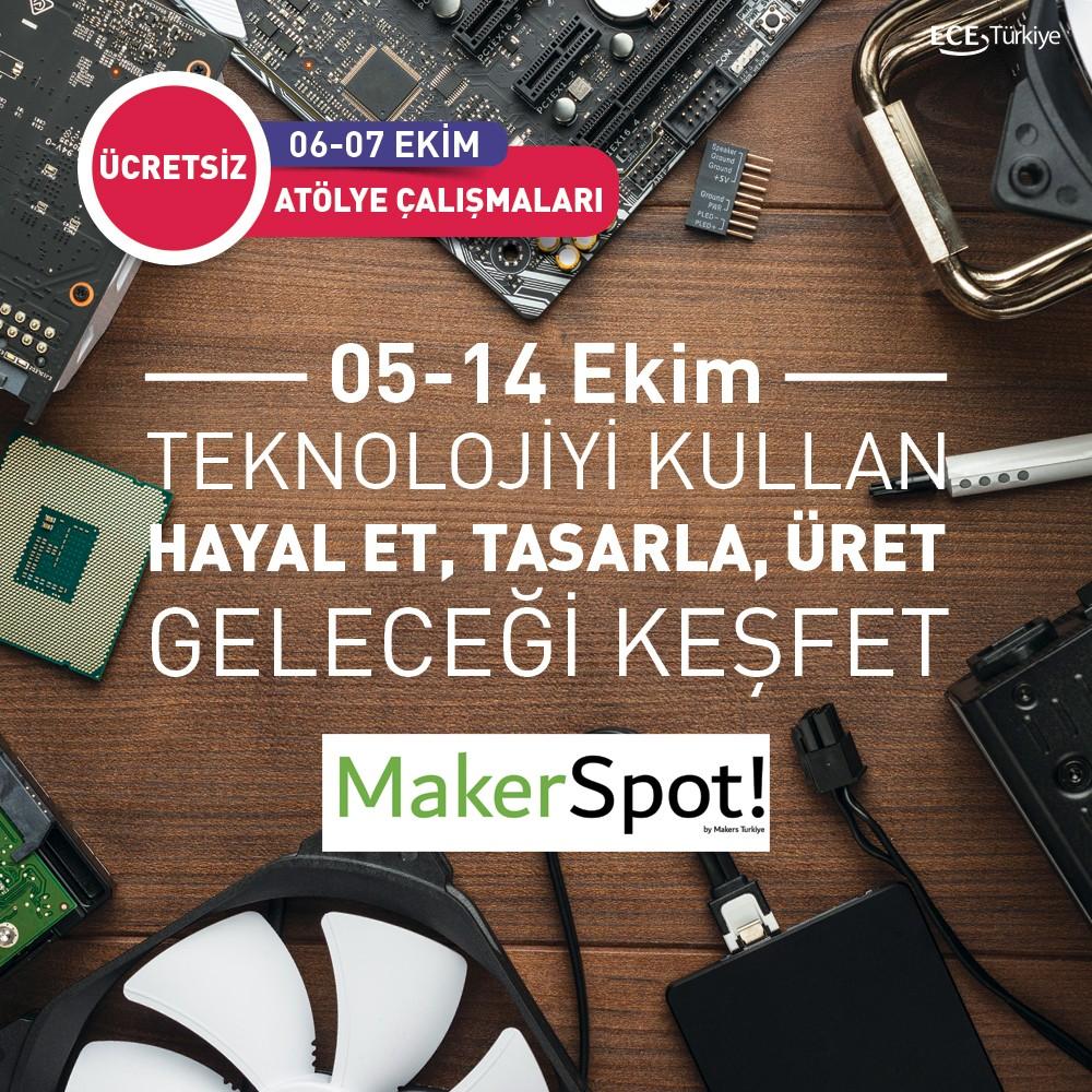 Teknolojiyi kullan, hayal et, tasarla, üret ve geleceği keşfet!  Maker Spot, 05-14 Ekim tarihlerinde Antalya Migros AVM'de! Teknoloji keşfine çıkmaya hazır mısın?