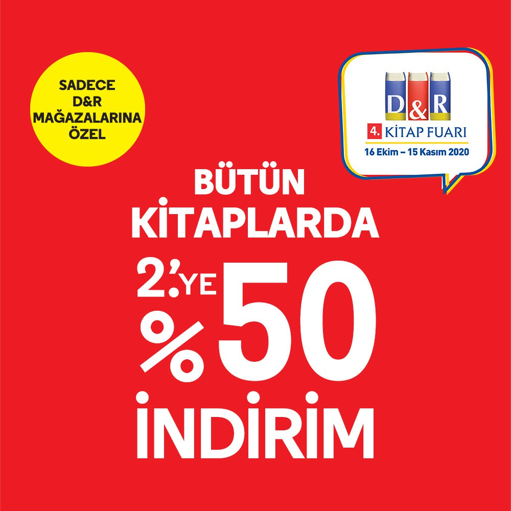 D&R Kitap fuarına özel bütün kitaplarda 2.'ye %50 indirim fırsatını Antalya Migros AVM'de yakalayın!