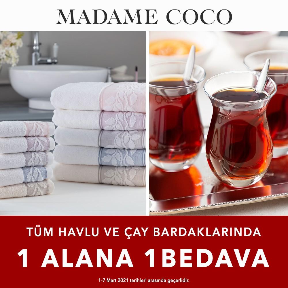 Madame Coco'da Tüm Havlu ve Çay Bardaklarında 1 Alana 1 Bedava