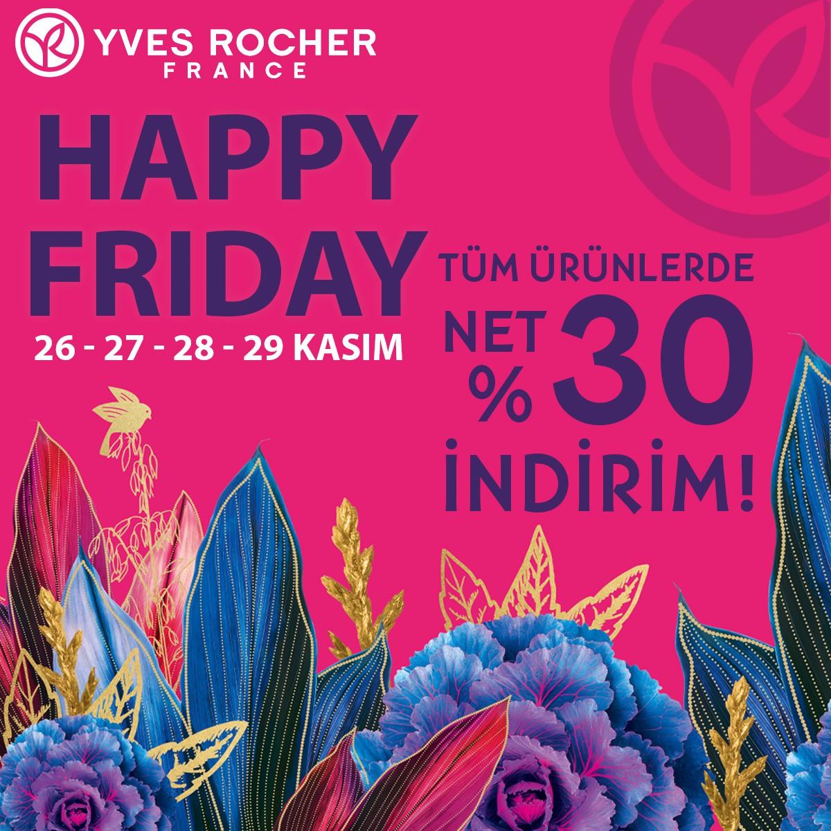 Sevdiklerimize hediyeler almak, onları mutlu etmek için en doğru zaman geldi! 26 – 27 – 28 ve 29 Kasım tarihlerinde Antalya Migros AVM Yves Rocher mağazasında tüm ürünler NET %30 İNDİRİM ile sizleri bekliyor!